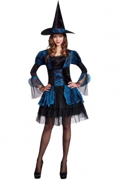 Womens Elegant Lace Patchwork Witch Halloween Costume Blue