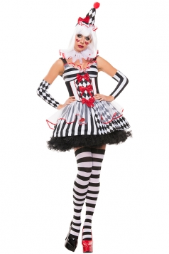 Womens Harley Quinn Clown Halloween Costume Black And White