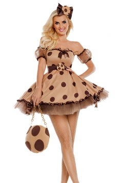 Womens Sexy Polka Dot Singer Costumes Brown