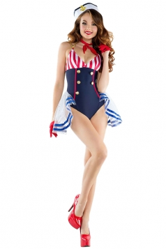 Womens Sexy Halloween Party Wear Sailor Costume Blue