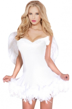 Womens Halloween Sexy Angle Costume With Wings White