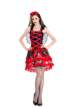 Womens Sexy Halloween Vampire Costume With Veil Red
