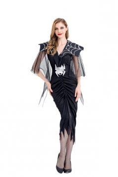 Women Spider Vampire Cosplay Costume Halloween Fancy Dress Black