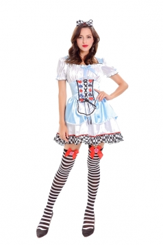 Womens Cosplay Alice In Wonderland Dress Halloween Costume Blue