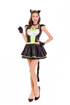 Womens Party Dress Cat Halloween Animal Costume Black And White