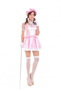 Womens Halloween Costume White Polka Dot Princess Dress Pink