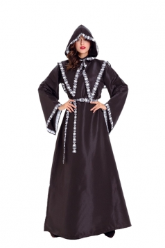 Womens Hooded Witch Gown Wicked Halloween Cosplay Costume Black