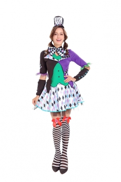Womens Circus Clown Halloween Cosplay Costume Purple
