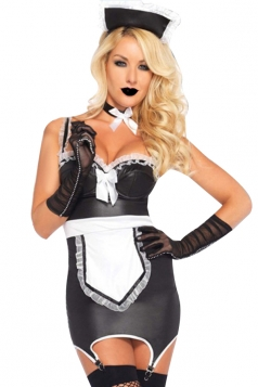 Womens Sexy Cosplay Maid Costume Black And White