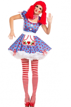 Womens Circus Clown Cosplay Halloween Costume Blue