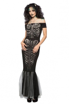 Womens Halloween Party Skeleton Mermaid Costume Black
