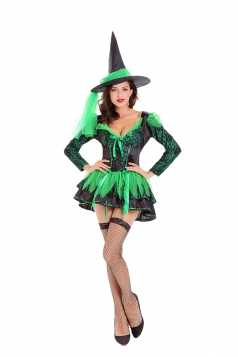 Womens Sexy Halloween Costume Witch Dress Green