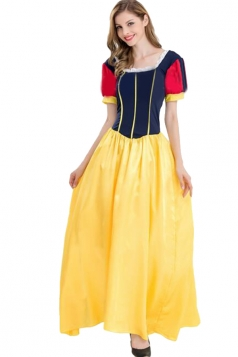 Womens Halloween Cosplay Snow White Dress Costume Yellow