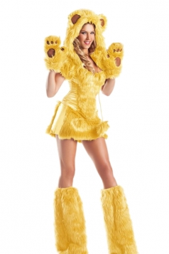 Womens Sexy Furry Bear Adult Halloween Costume Gold