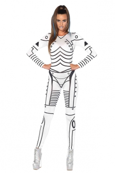 Womens Sexy Killer Robot Storm Trooper Halloween Costume White