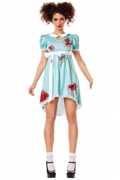 Womens Halloween Bloody Zombie Costume Blue