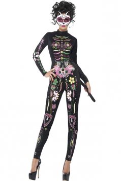 Halloween Costume Sugar Skull Cat Costume For Womens Black