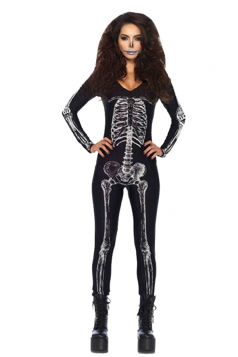 Women's X-Ray Skeleton Catsuit Halloween Costume Black