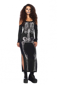 Womens Halloween Skeleton Dress Costume Black
