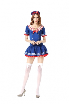 Womens Sexy Nautical Adult Halloween Sailor Costume Navy Blue