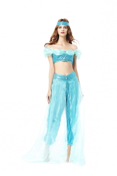Womens Sexy Aladdin's Lamp Jasmine Princess Halloween Costume Blue
