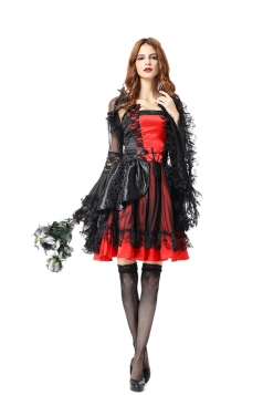 Womens Sexy Lace Sleeve Halloween Bride Vampire Costume Black