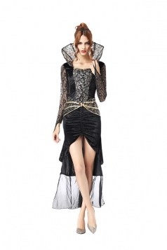 Womens Elegant Bodycon Halloween Vampire Costume Black