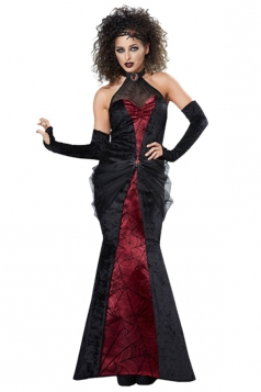 Womens Sexy Gothic Halloween Widow Spider Vampire Costume Black