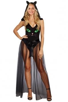 Womens Cute Bodysuit Pretty Halloween Kitty Cat Costume Black