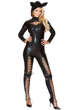 Womens Sexy Bodysuit Halloween Cute Cat Costume Black