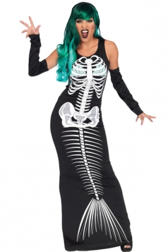Womens Sexy Maxi Dress Halloween Siren Skeleton Costume Black