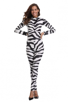 Womens Stripe Jumpsuit Halloween Cow Animal Costume Black And White