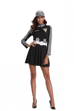 Womens Plaid Sleeve Halloween Dress Racer Girl Sports Costume Black