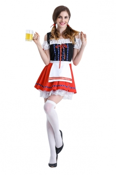 Womens Sexy Lace Hem Apron Beer Bar Halloween Maid Costume Red