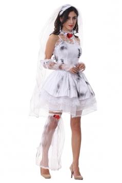 Womens Sexy Spaghetti Straps Halloween Zombie Bride Costume White