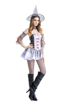 Womens Sexy Off Shoulder Halloween Witch Costume White