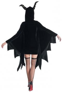 Womens Sexy Zipper Hooded Halloween Vampire Costume Black