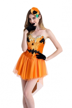 Womens Sexy Back Bow Tube Dress Halloween Pumpkin Costume Orange