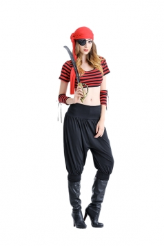Womens Sexy Stripe Crop Top&Leisure Pants Halloween Pirate Costume Red