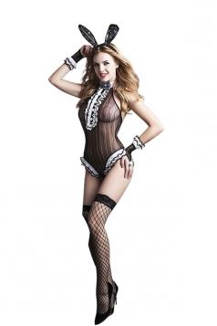 Womens Sexy Halter Fishnet Lingerie Halloween Bunny Girl Costume Black