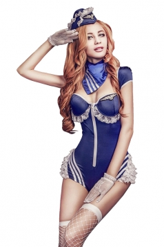 Womens Sexy Zipper Lace Deep Neck Halloween Maid Costume Blue