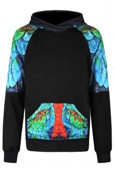 Womens Parrot Printed Raglan Sleeve Kangaroo Pocket Hoodie Blue