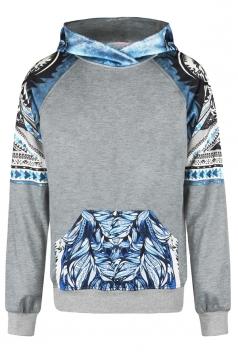Womens Wolf Printed Raglan Sleeve Kangaroo Pocket Hoodie Light Blue