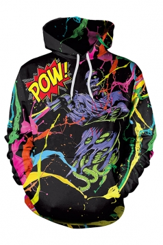 Halloween Demon Hunter Printed Kangaroo Pocket Hoodie Multicolor