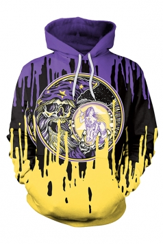 Halloween Skull Printed Drawstring Kangaroo Pocket Hoodie Purple