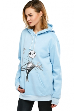 The Nightmare Before Christmas Jack Printed Drawstring Hoodie Blue