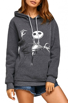 The Nightmare Before Christmas Jack Printed Drawstring Hoodie Dark Gray