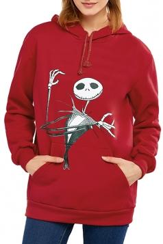 The Nightmare Before Christmas Jack Printed Drawstring Hoodie Red