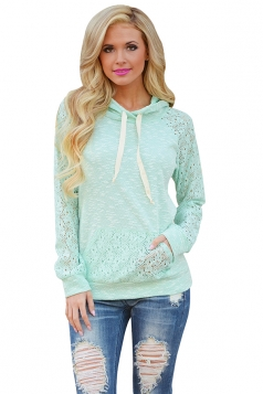 Women Lace Raglan Sleeve Kangaroo Pocket Drawstring Hoodie Light Green