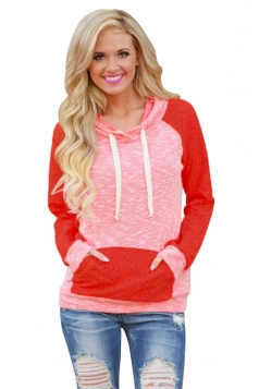 Womens Lace Raglan Sleeve Kangaroo Pocket Drawstring Hoodie Pink